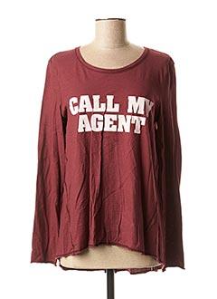 T-shirt manches longues rouge LYNNE pour femme
