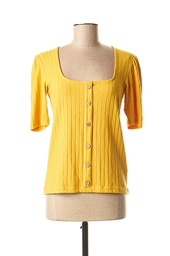 Pull col carré jaune TIFFOSI pour femme
