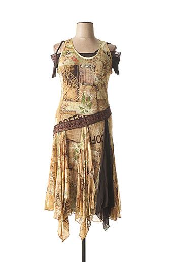 Robe mi-longue marron CARLOPIK pour femme