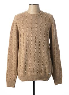 Pull col rond beige MONTE CARLO pour homme