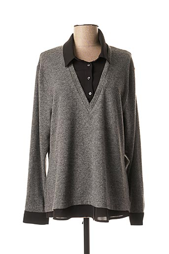 Pull col rond gris PAUSE CAFE pour femme