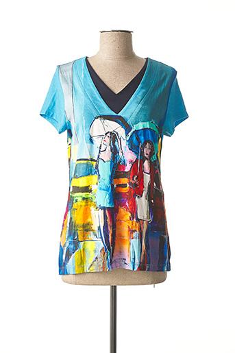 T-shirt manches courtes bleu DOLCEZZA pour femme