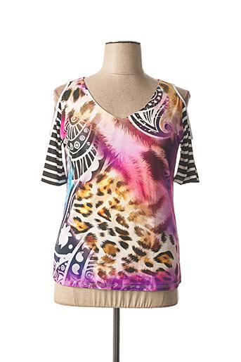 T-shirt manches courtes rose BLEU D'AZUR pour femme