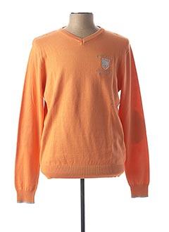Pull col V orange BLACK WELLIS pour homme