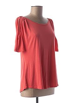 T-shirt manches courtes orange HALOGENE pour femme