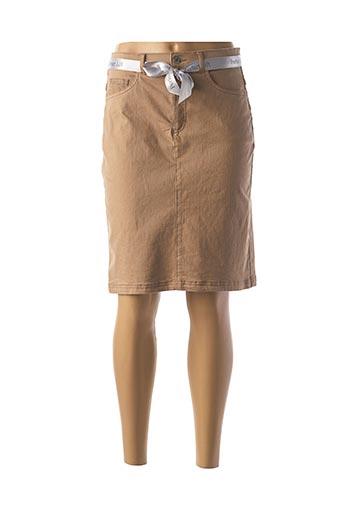 Jupe mi-longue marron BRUNO SAINT HILAIRE pour femme