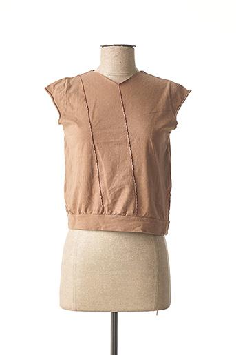 T-shirt manches courtes marron C.SEVENTEEN pour femme