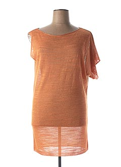 Pull tunique orange LAUREN VIDAL pour femme