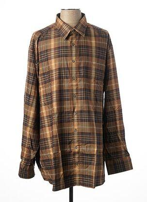 Chemise manches longues marron OLYMP pour homme