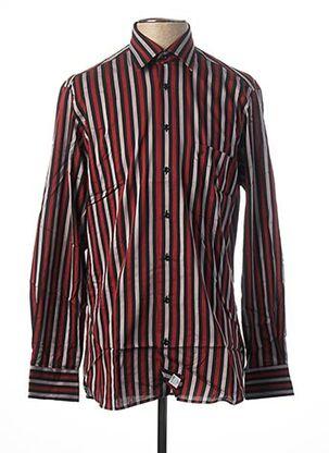 Chemise manches longues rouge JEAN CHATEL pour homme