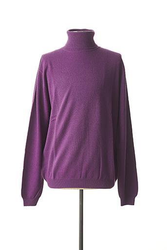 Pull col roulé violet AL CAPRA pour homme