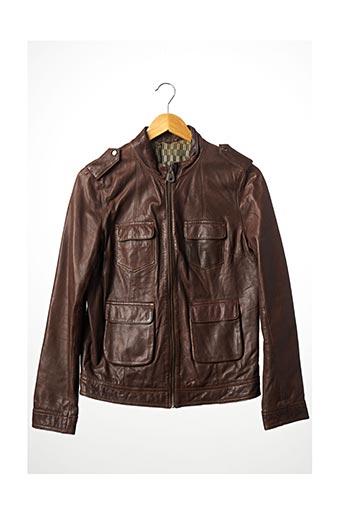 Veste en cuir marron NAF NAF pour femme