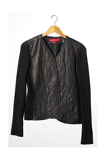 Veste en cuir noir ANNE KLEIN pour femme