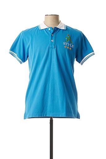 Polo manches courtes bleu A-STYLE pour homme