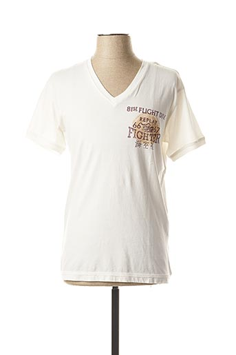 T-shirt manches courtes blanc REPLAY pour homme