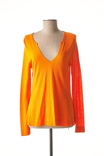 Pull col V orange ABSOLUT CASHMERE pour femme