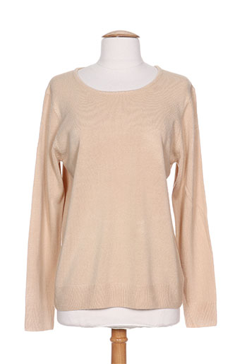 Pull col rond beige CASHMERE FEELING pour femme