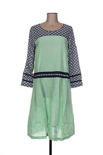 Robe mi-longue vert NID D'ABEILLE pour femme