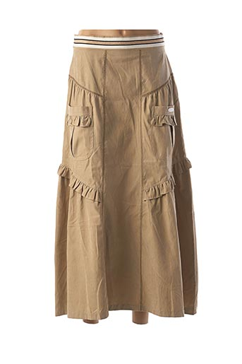 Jupe mi-longue beige POUPEE CHIC pour femme