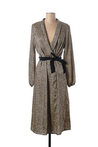 Robe mi-longue beige LA FEE MARABOUTEE pour femme