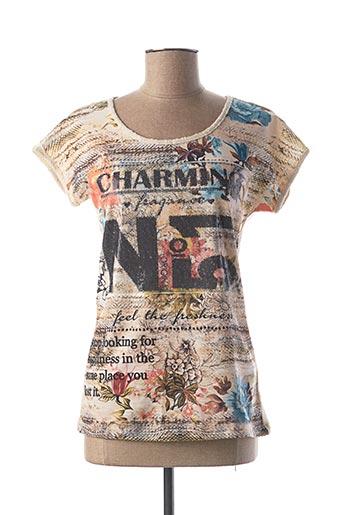 T-shirt manches courtes beige GEISHA pour femme