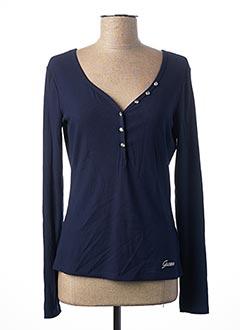 T-shirt manches longues bleu GUESS pour femme