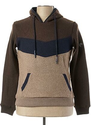 Pull col rond marron RECYCLED ART WORLD pour homme