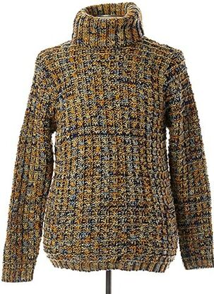 Pull col roulé jaune RECYCLED ART WORLD pour homme