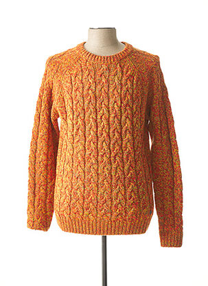 Pull col rond orange RECYCLED ART WORLD pour homme