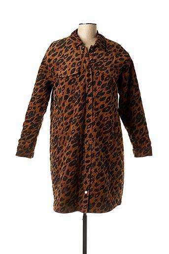 Manteau long marron ICHI pour femme
