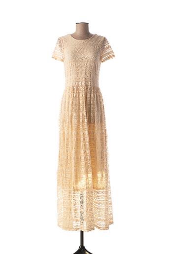 Robe longue beige ICHI pour femme