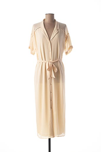 Robe mi-longue beige ICHI pour femme