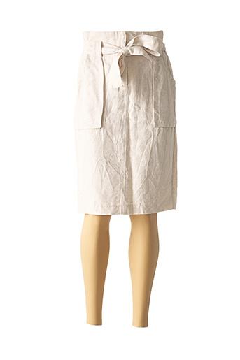 Jupe mi-longue beige ICHI pour femme