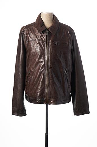 Veste en cuir marron DAYTONA pour homme