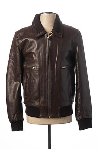 Veste en cuir marron KAPORAL pour homme