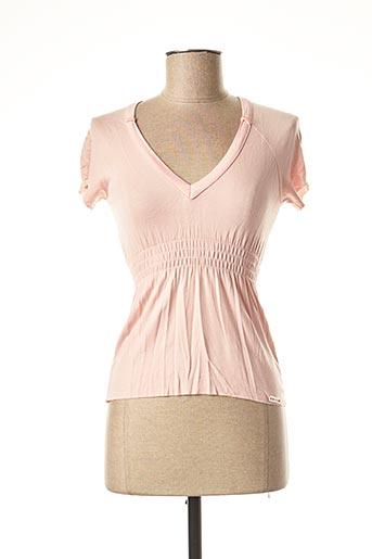 T-shirt manches courtes rose E.LOCO pour femme