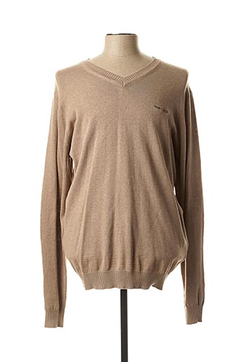 Pull col V beige TEDDY SMITH pour homme
