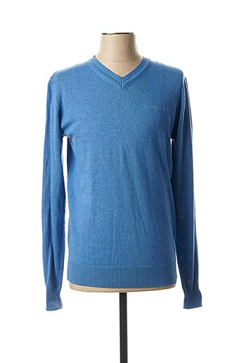 Pull col V bleu TEDDY SMITH pour homme