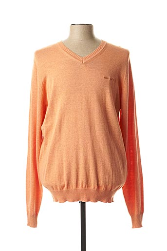 Pull col V orange TEDDY SMITH pour homme