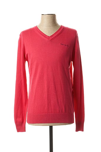 Pull col V rose TEDDY SMITH pour homme