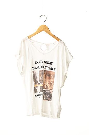 T-shirt manches courtes blanc KAPORAL pour fille