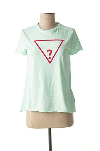 T-shirt manches courtes vert GUESS pour femme