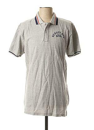 Polo manches courtes gris SCHOTT pour homme