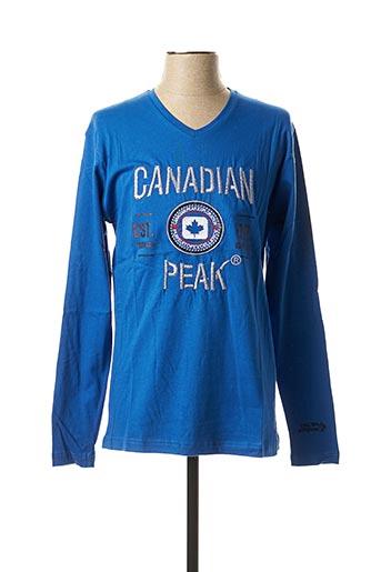 T-shirt manches longues bleu CANADIAN PEAK pour homme