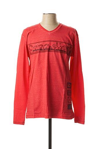 T-shirt manches longues rouge CANADIAN PEAK pour homme
