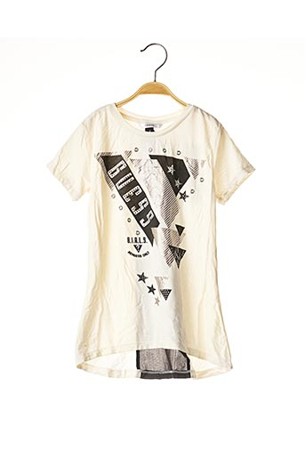 T-shirt manches courtes beige GUESS pour fille