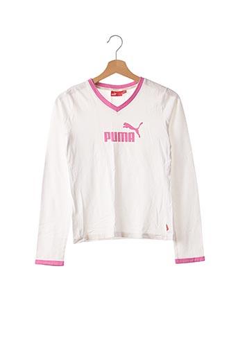 T-shirt manches longues blanc PUMA pour fille