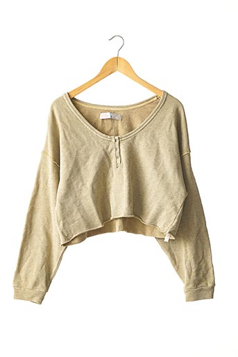 Pull col rond beige FREE PEOPLE pour femme