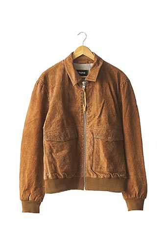 Veste en cuir marron TIGHA pour homme