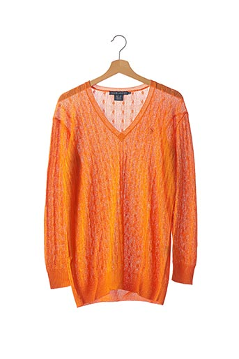 Pull col V orange RALPH LAUREN pour femme